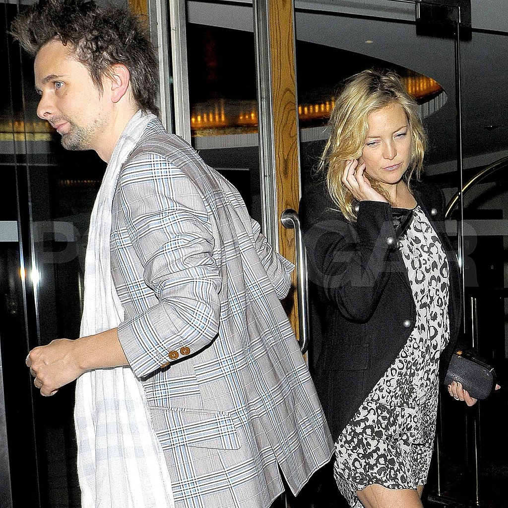 Kate Hudson and Matt Bellamy leave dinner.