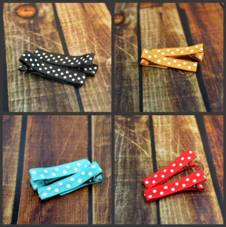 $7 for 4 Pairs of Polka Dot Lined Hair Clips - great deal on hair accessories for your LilOnes.