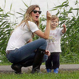 Gisele Bundchen and Benjamin Brady Playing Along Boston River Pictures