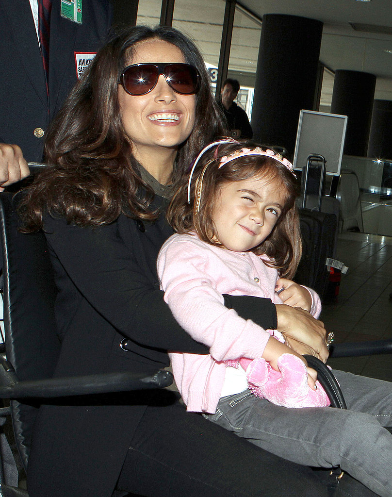 Salma Hayek and Valentina at LAX.