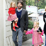 Ben Affleck carried Seraphina while holding Violet's hand.