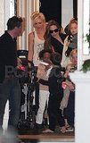 Gwen Stefani and Kingston Rossdale say bye to Angelina Jolie, Shiloh Jolie-Pitt, Zahara Jolie-Pitt, and Knox Jolie-Pitt.