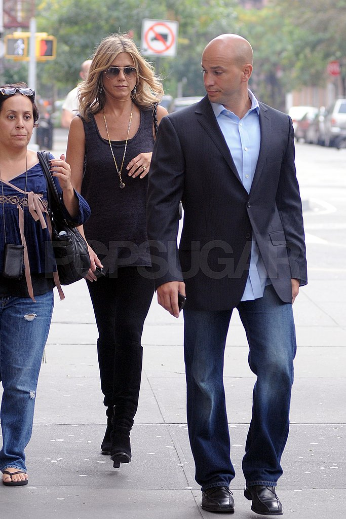 Jennifer Aniston was joined by her entourage arriving at the Good Morning America studios.