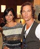 Camila Alves and Matthew McConaughey on their way into the Iris premiere.