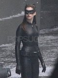 Anne Hathaway's Catwoman costume appears to be made out of leather.