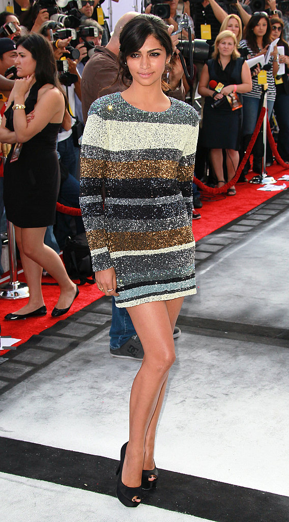 Camila Alves wore a striped sequin dress to the Iris premiere.