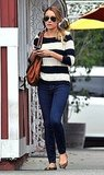Lauren Conrad in blue and white stripes.