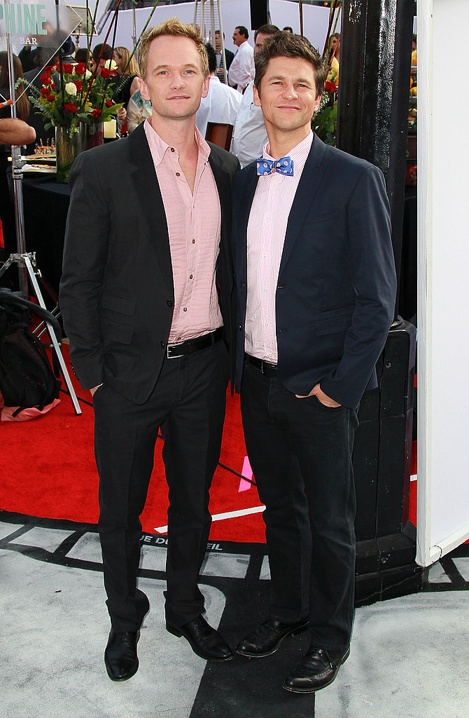 Neil Patrick Harris and David Burtka wore pink shirts to see the Iris premiere.