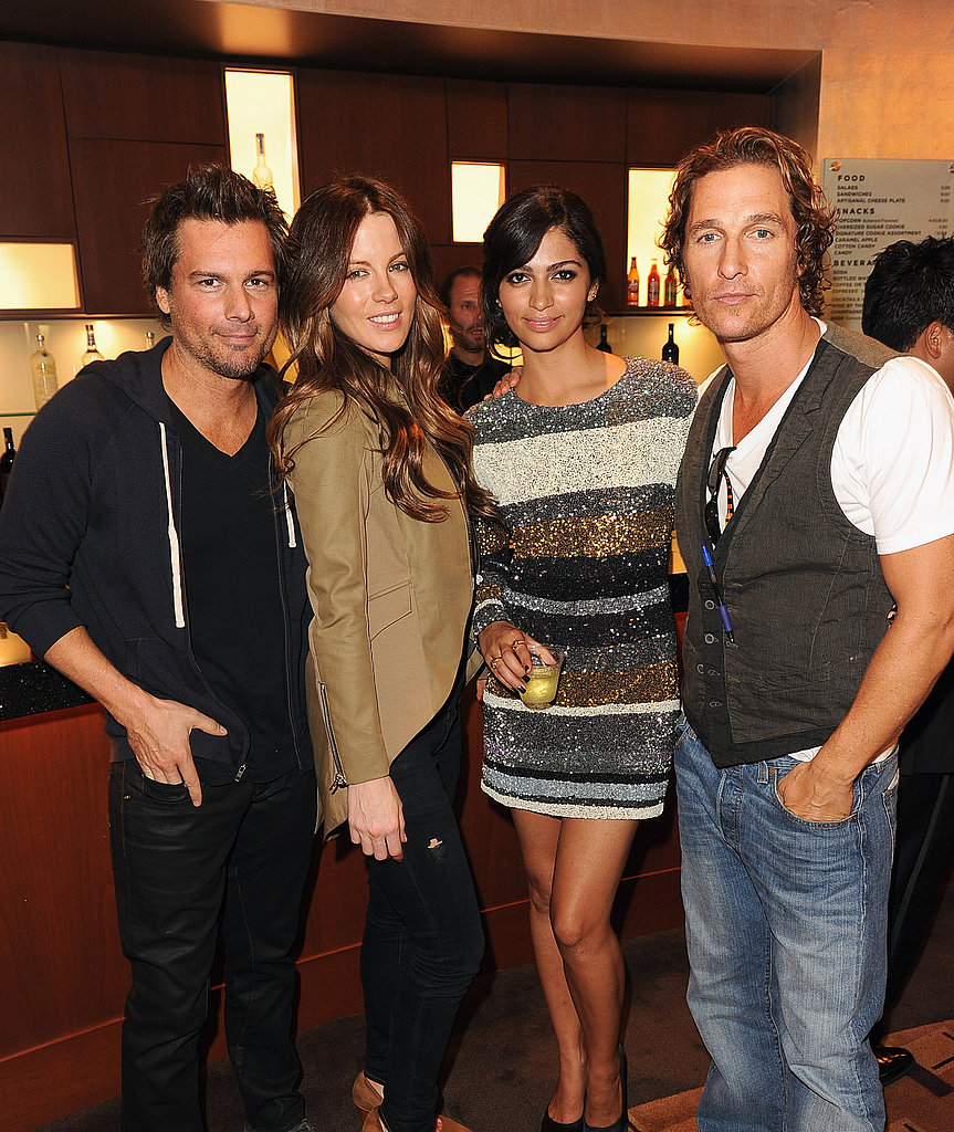 Len Wiseman and Kate Beckinsale caught up with Camila Alves and Matthew McConaughey at the Iris premiere.
