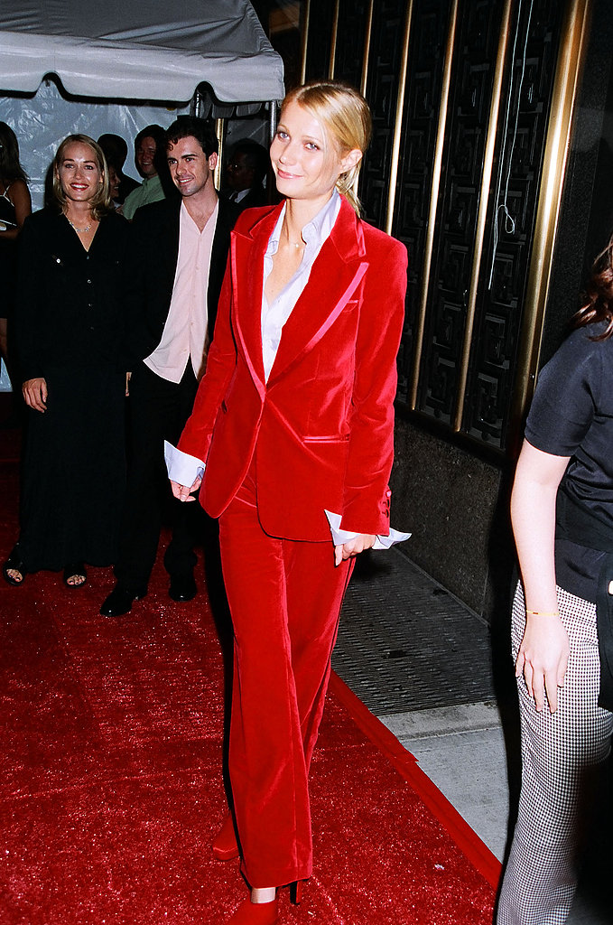 Rocking a velvet red Tom Ford for Gucci suit at the 1996 MTV Movie Awards.