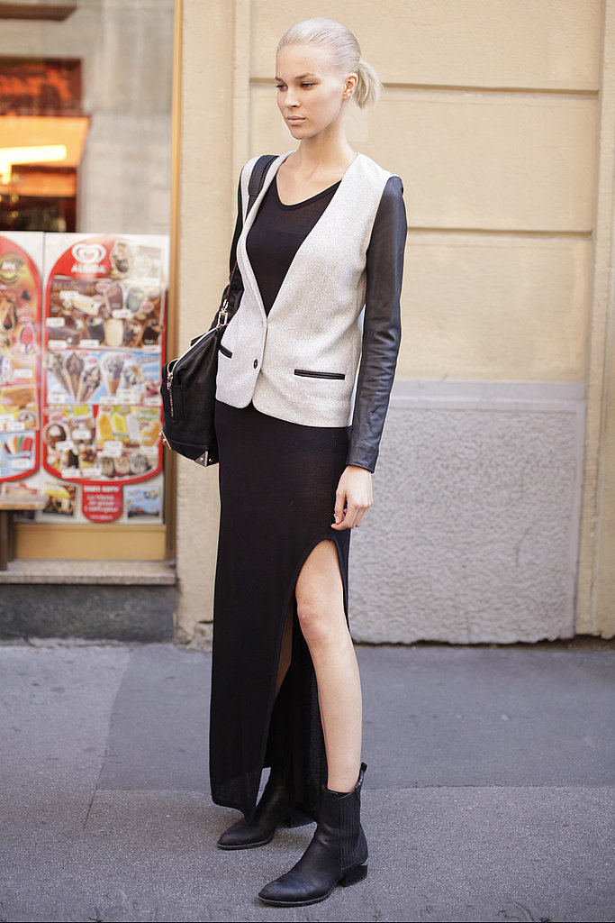 Mix up your blazer and a maxi skirt for effortless cool Fall style, a la this leather-clad street styler.