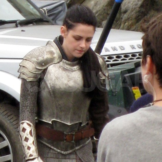 Kristen Stewart wears armor on the Snow White and the Huntsman set.
