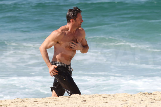 Hugh Jackman enjoyed a shirtless day at the beach.