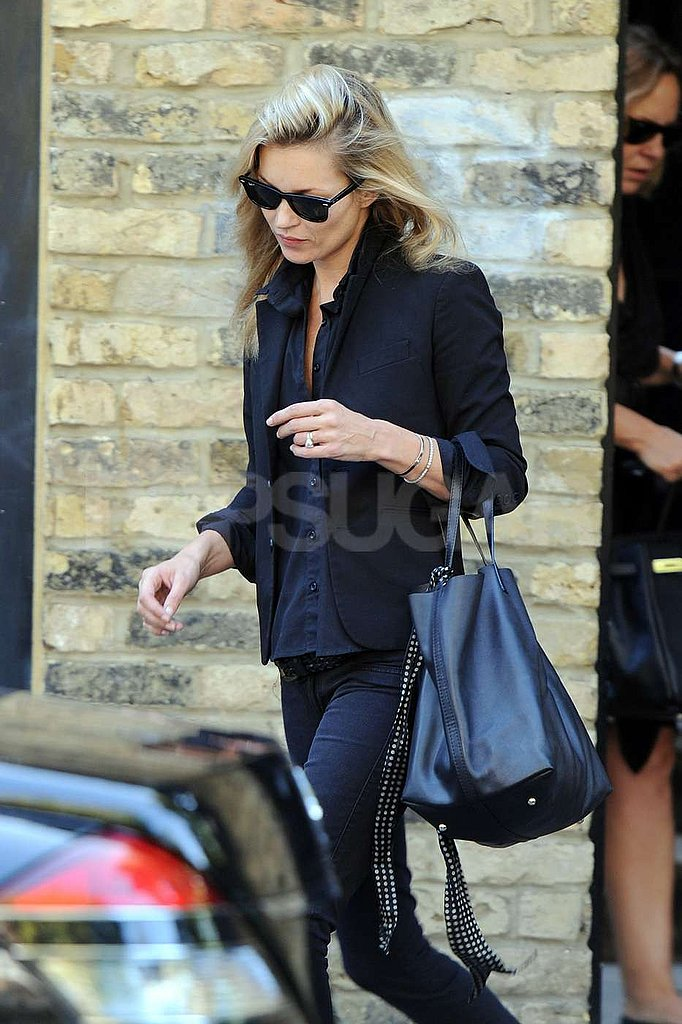 Kate Moss got ready to work in London.