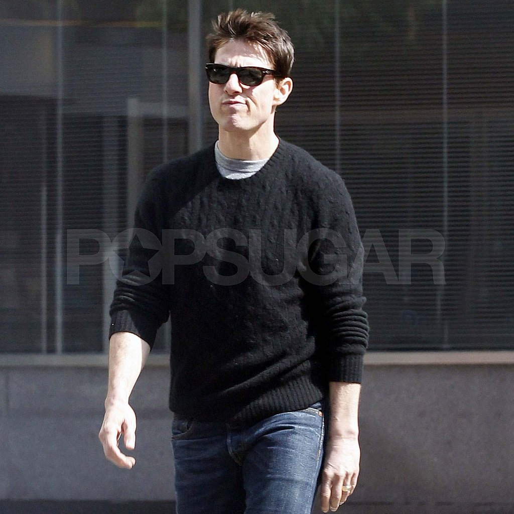 Tom Cruise shows off shorter hair in NYC.