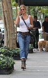 Jennifer carried her favorite black cross-body bag.