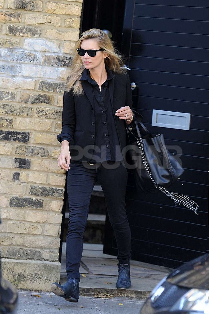 Kate Moss wore sunglasses in London.