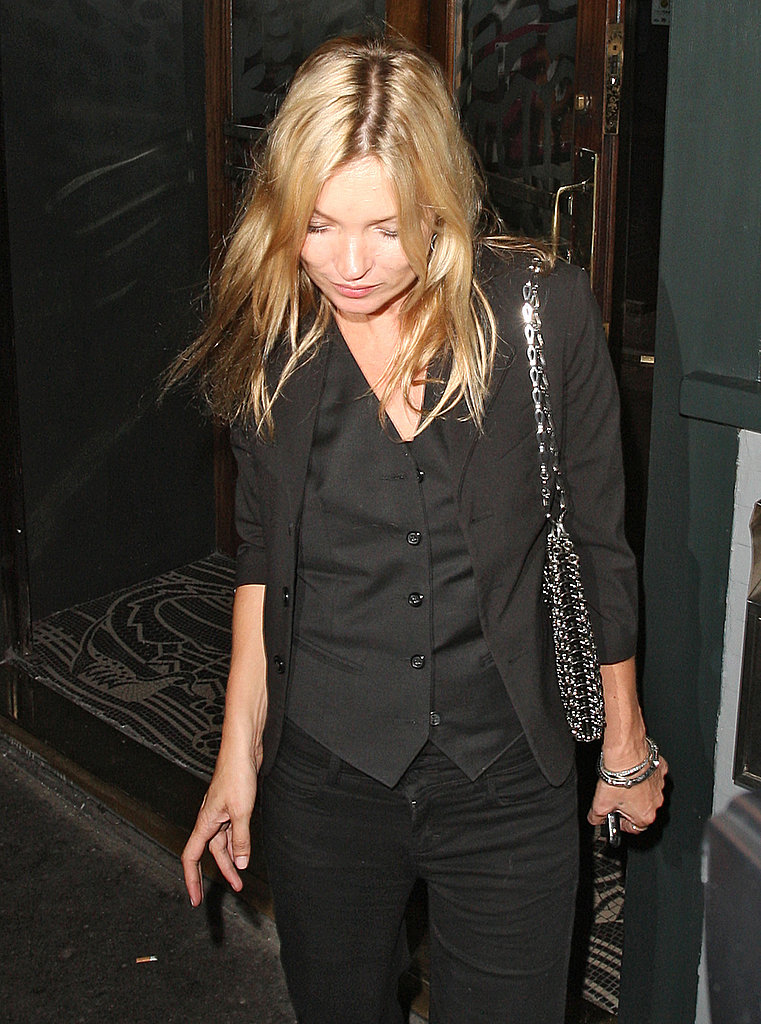 Kate Moss wore an all-black ensemble to party in London.