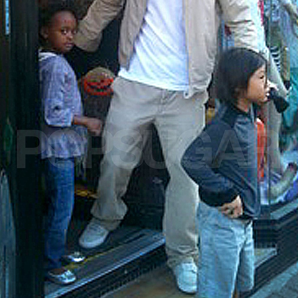 Zahara Jolie-Pitt and Pax Jolie-Pitt leaving a London costume shop.