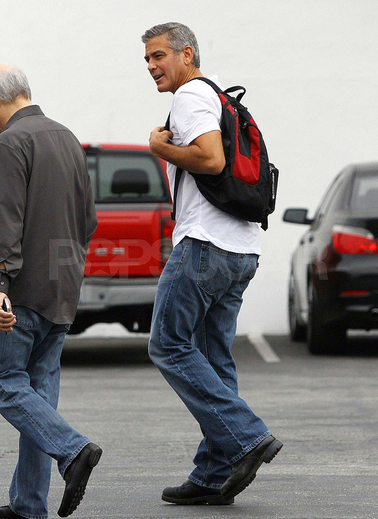 George Clooney in a white shirt in LA.