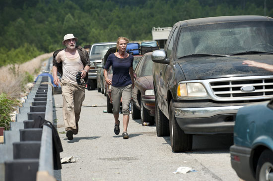 Jeffrey DeMunn as Dale and Laurie Holden as Andrea on The Walking Dead.  Photo courtesy of AMC