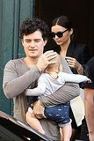 Miranda Kerr follows Orlando Bloom and their son Flynn Bloom from Paris hotel.
