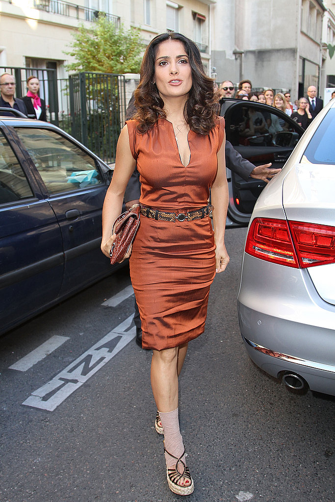 Salma Hayek arrived for the Balenciaga presentation.