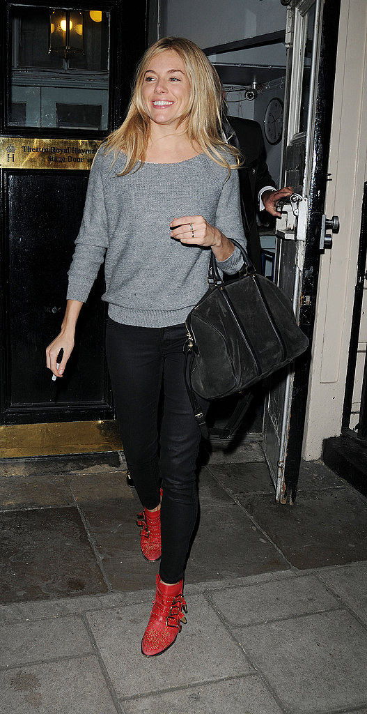 Sienna Miller's red studded Chloé ankle boots amp up the cool factor on her basics.