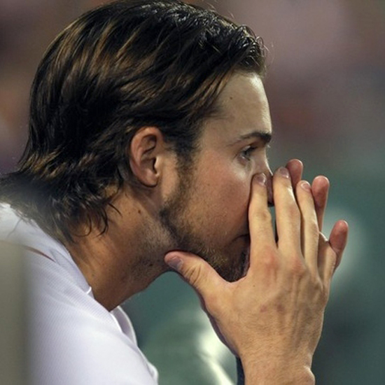 Ryan Lavarnway of the Red Sox might be holding back tears.