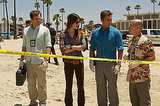 Michael C. Hall as Dexter Morgan, Jennifer Carpenter as Debora Morgan, Desmond Harrington as Joey Quinn, and C.S. Lee as Vince Masuka on Dexter. Photo courtesy of Showtime