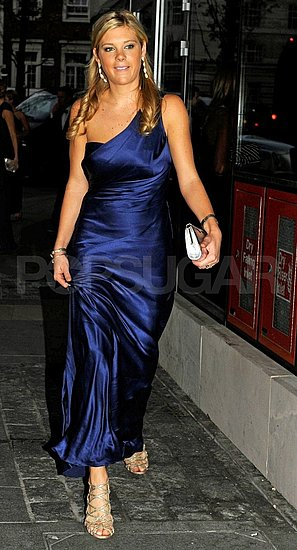 Chelsy Davy in a one-shouldered navy gown.
