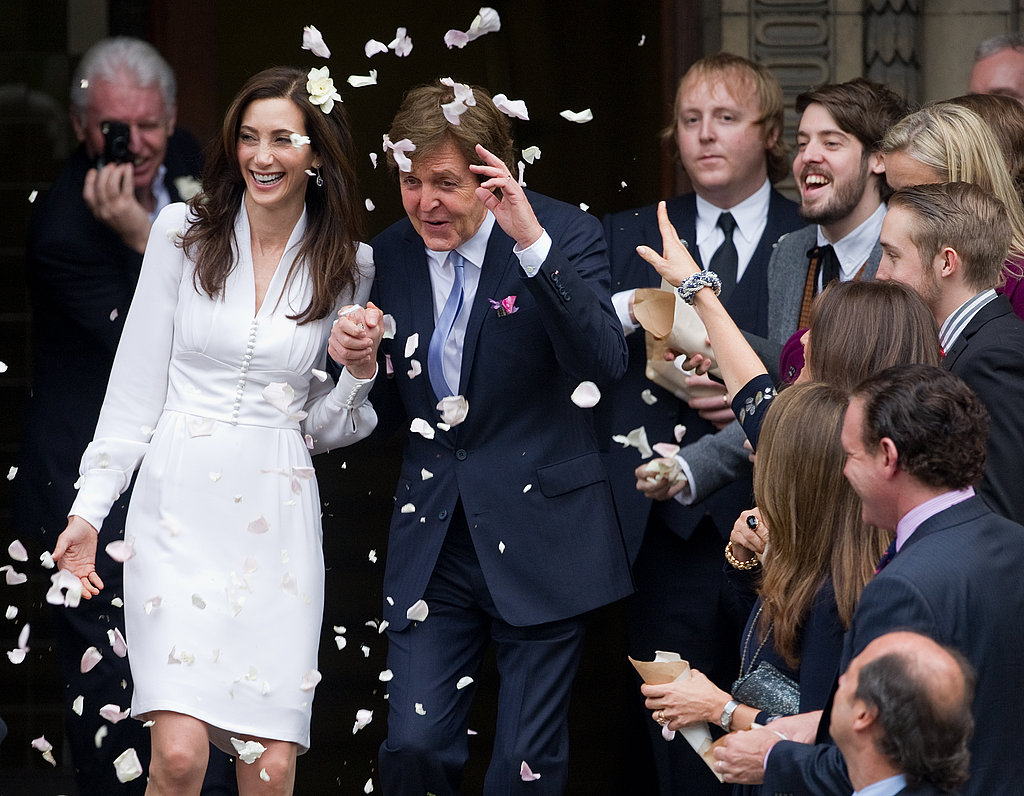 Nancy Shevell and Paul McCartney couldn't stop smiling on their wedding day in London.