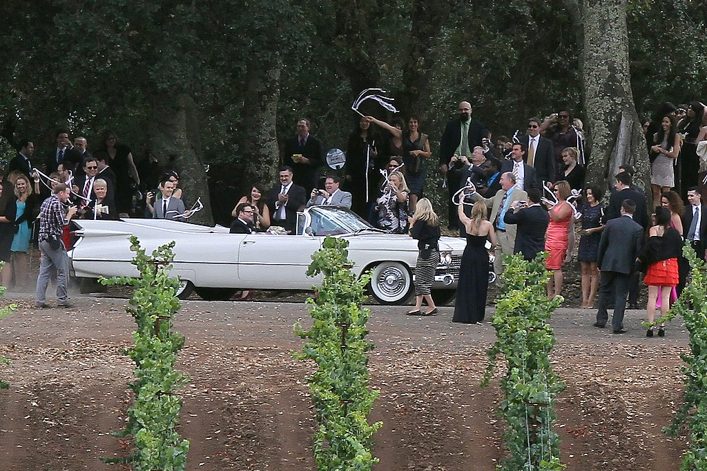Lauren and Seth rode off in a vintage white convertible before joining guests for the reception.