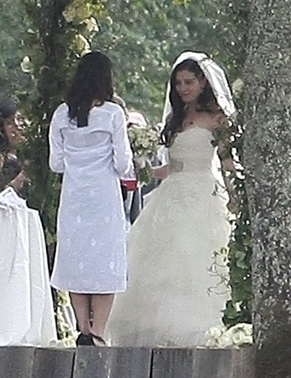 Lauren wore a strapless wedding gown.