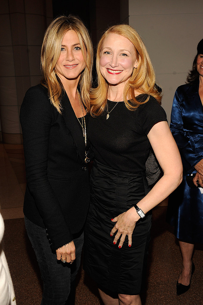 Jennifer Aniston shares a moment with Patricia Clarkson.