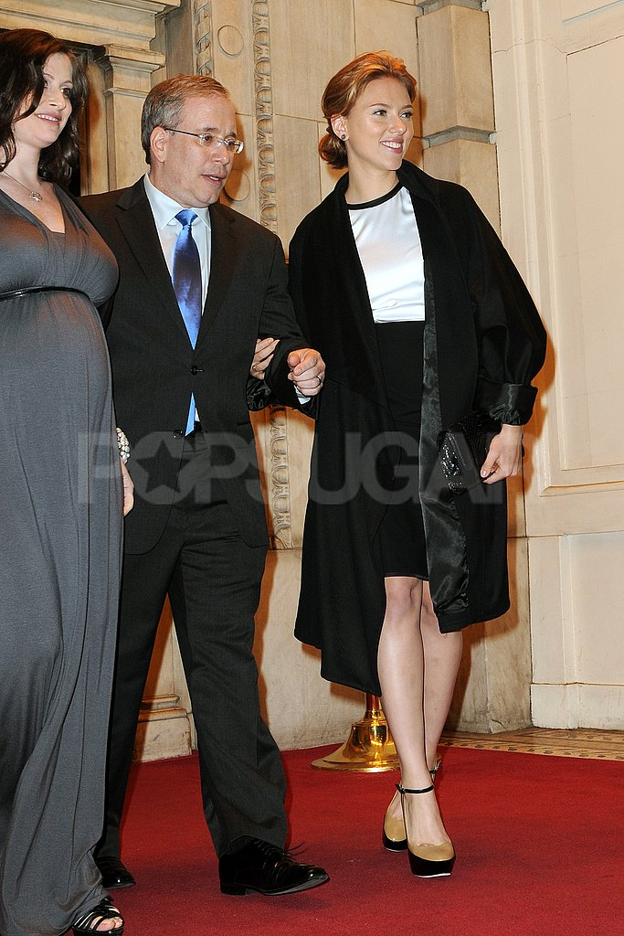 Scarlett Johansson left an event on the arm of Scott Stringer.