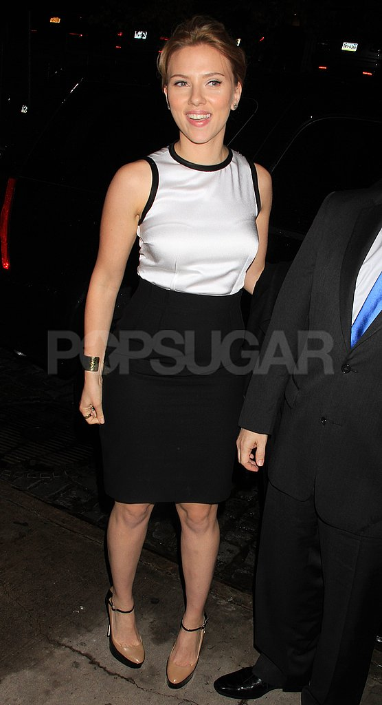 Scarlett Johansson wore black and white.