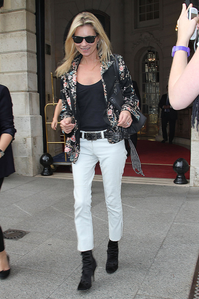 Kate Moss made her way out of a hotel in Paris.