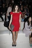 Alexa Chung in red at Paris Fashion Week.