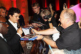 Orlando Bloom with fans at the London premiere of The Three Musketeers.