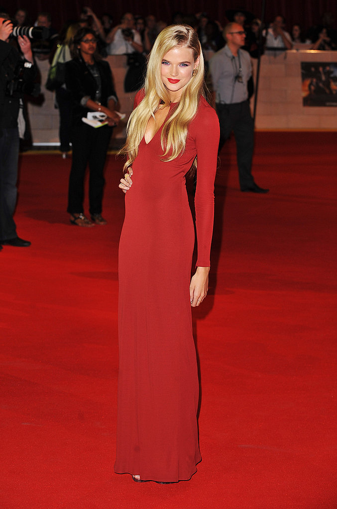 Gabriella Wilde in red at the London premiere of The Three Musketeers.