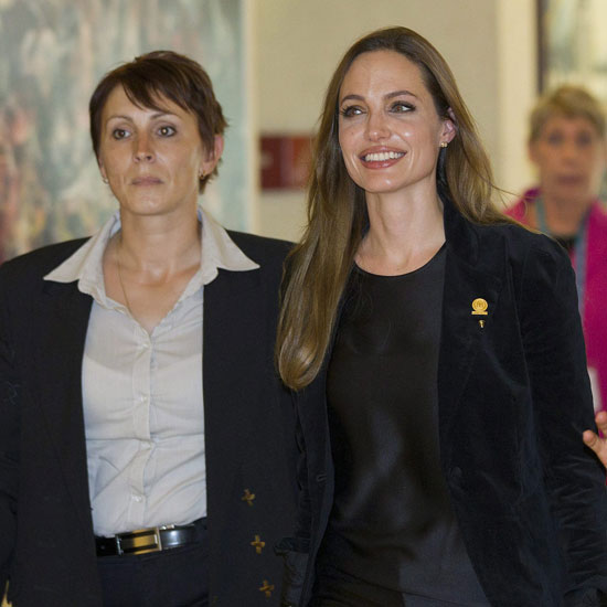 Angelina Jolie walked through the Geneva, Switzerland UN headquarters after delivering a speech.