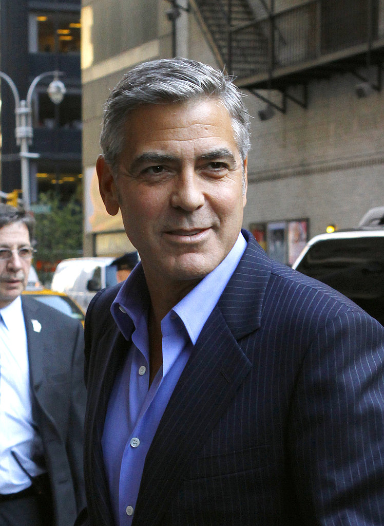 George Clooney arrived for a television appearance in NYC.