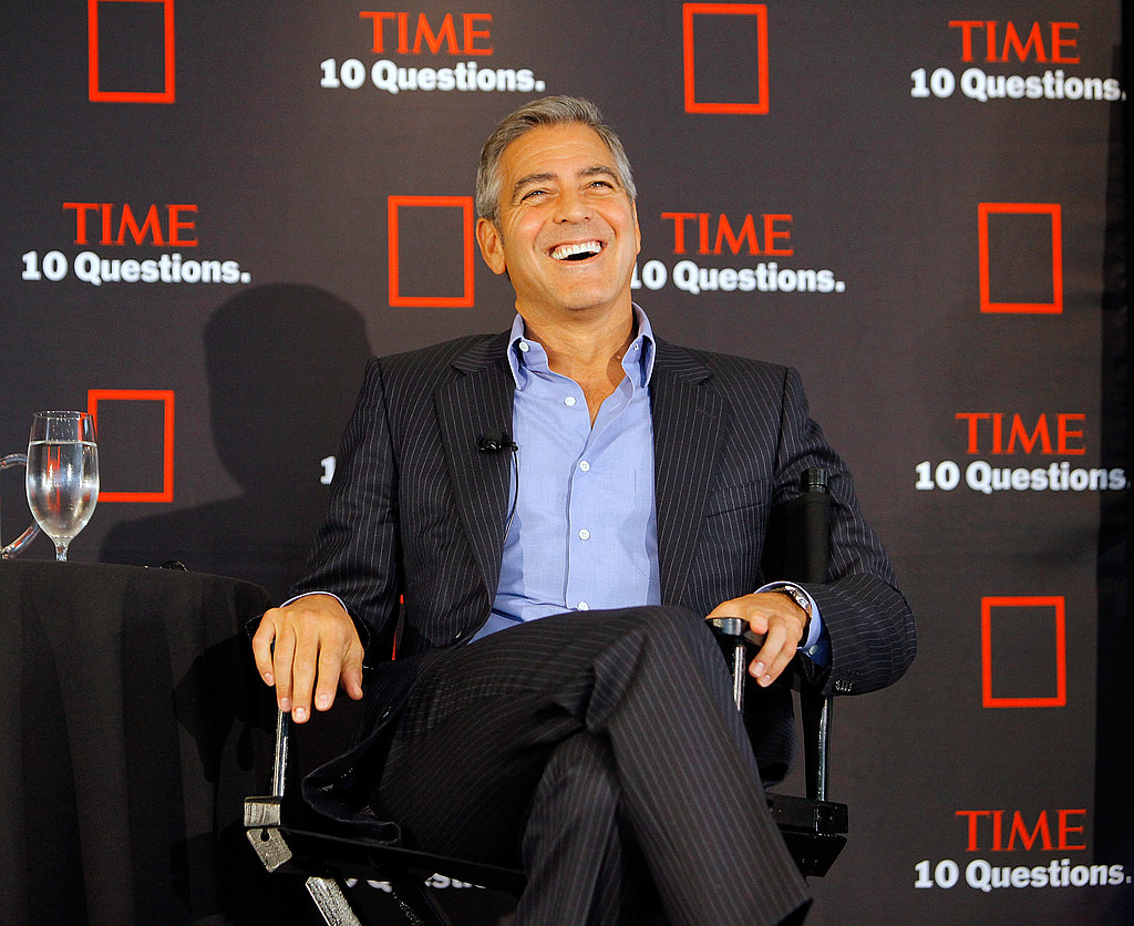 George Clooney laughed during a talk with Time magazine.