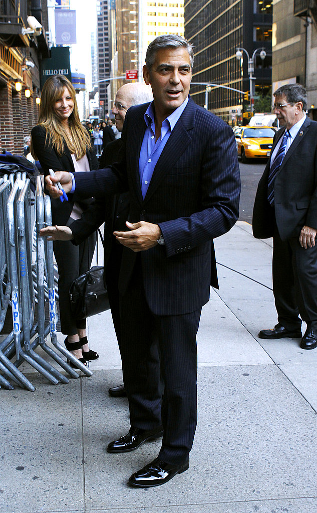 George Clooney made his way to The Late Show in NYC.