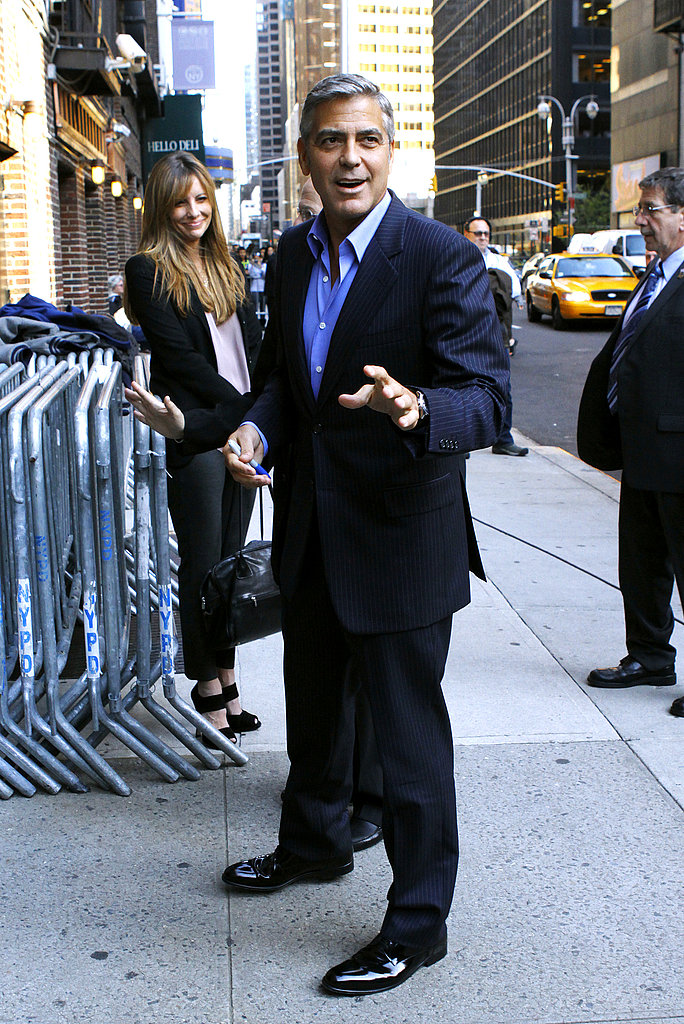 George Clooney was upbeat heading into The Late Show in NYC.
