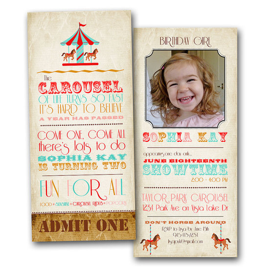 Carousel Ticket Birthday Invitation
