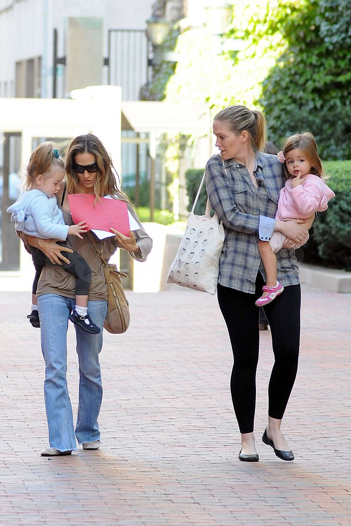 Sarah Jessica Parker and a babysitter carried Marion Broderick and Tabitha Broderick.