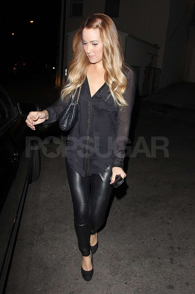 Lauren Conrad wore a sheer top and leather pants.