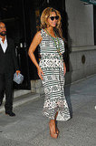 Beyoncé Knowles dressed her baby bump in a print dress.